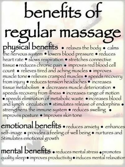benefits of regular massage, one of several complementary therapies to conventional medicine